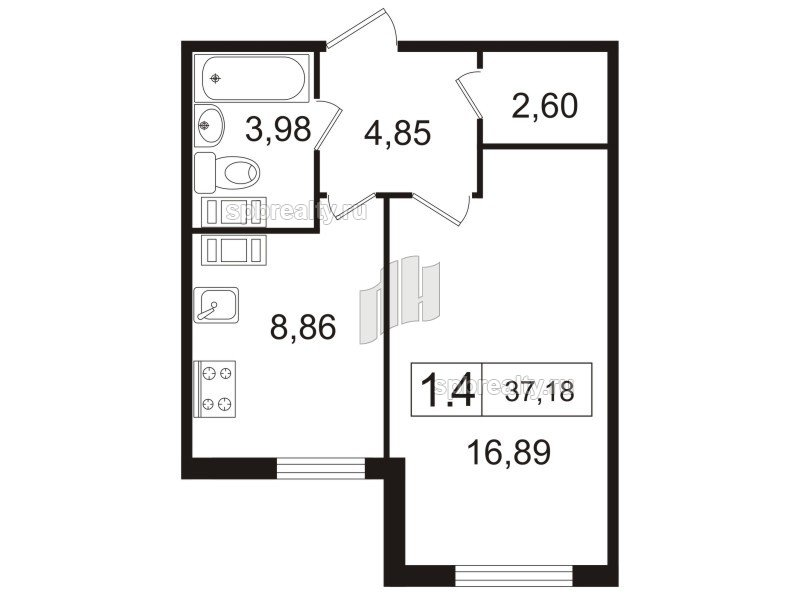 Планировка Однокомнатная квартира площадью 37.1 кв.м в ЖК «Дюна»